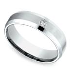 Inset Beveled Men's Wedding Ring in White Gold (6mm) | Thumbnail 01