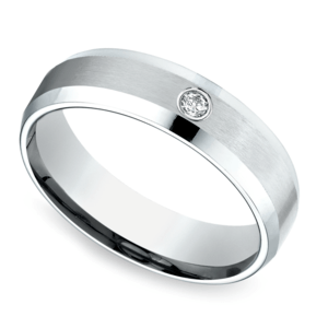 Inset Beveled Men's Wedding Ring in White Gold (6mm)