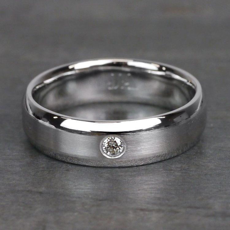 Inset Beveled Men's Wedding Ring in White Gold (6mm) | 03