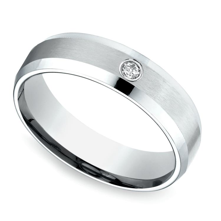 Inset Beveled Men S Wedding Ring In White Gold 6mm