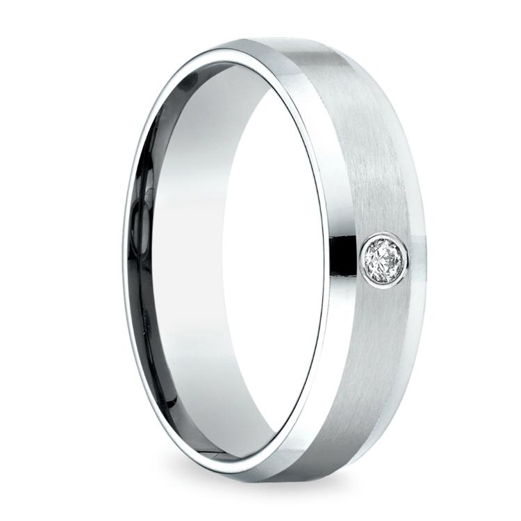 Inset Beveled Men's Wedding Ring in White Gold (6mm) | 02