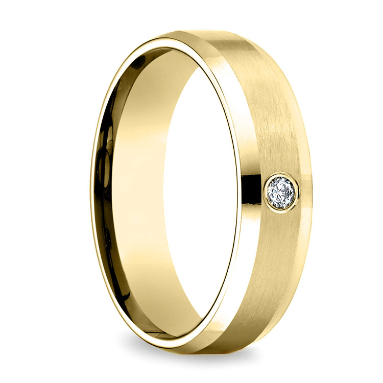 Inset Beveled Men's Wedding Ring in Yellow Gold (6mm) | 02