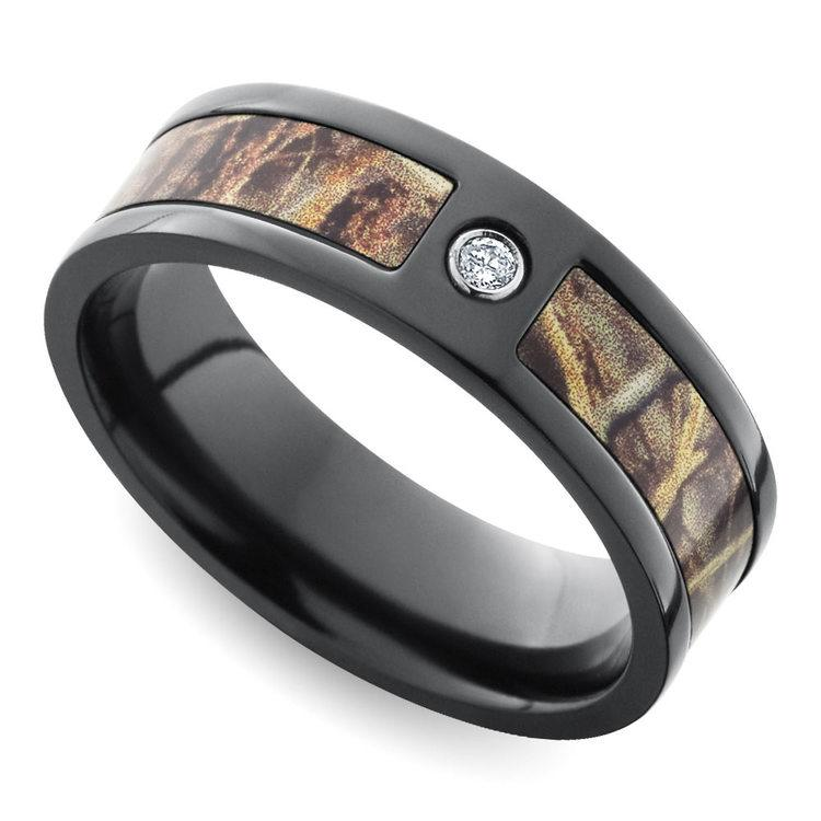 Inset Diamond Men's Ring with Camo Inlay in Zirconium (7 mm) | 01