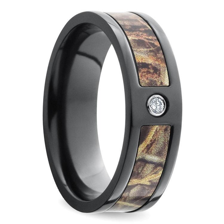 Inset Diamond Men's Ring with Camo Inlay in Zirconium (7 mm) | 02