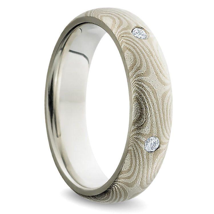 Inset Diamond Mokume Gane Men's Wedding Ring | 02