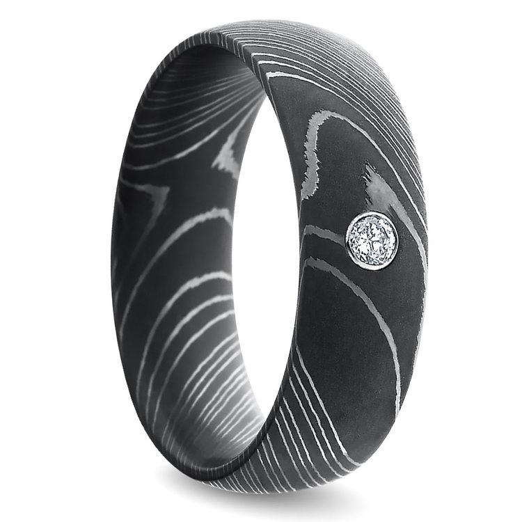 Inset Diamond Men's Wedding Ring in Damascus Steel | 02