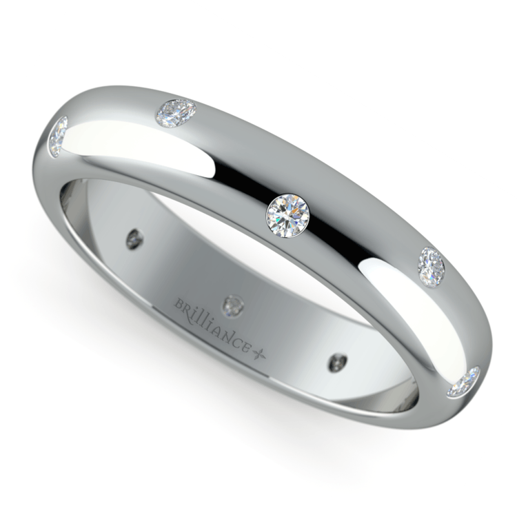 Inset Diamond Men's Band in White Gold (5mm) | 01