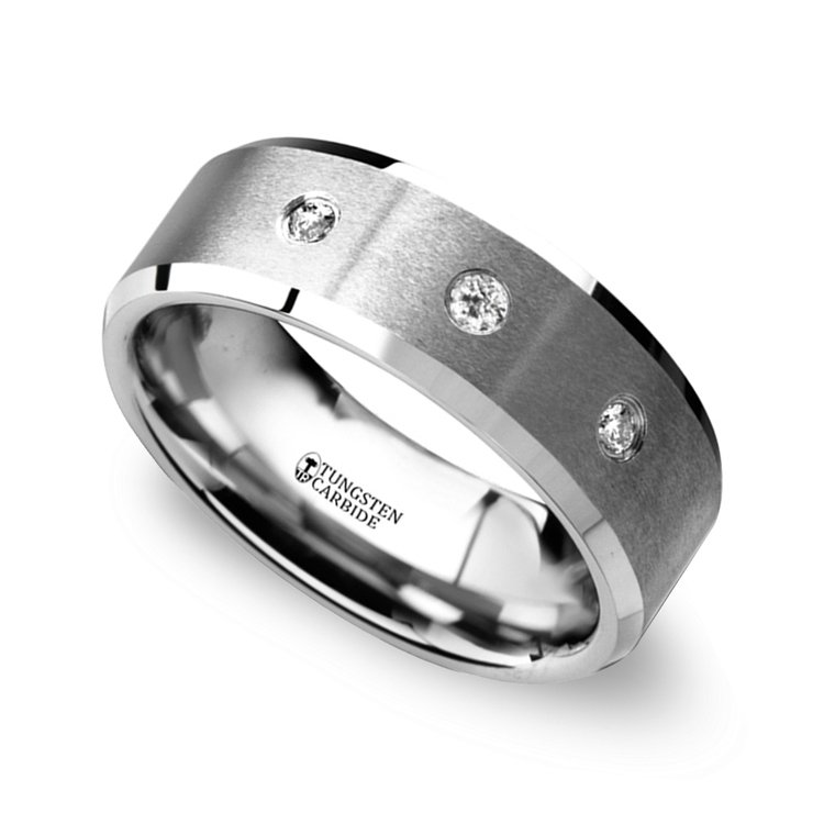 Satin Beveled Diamond Men's Wedding Ring in Tungsten   01