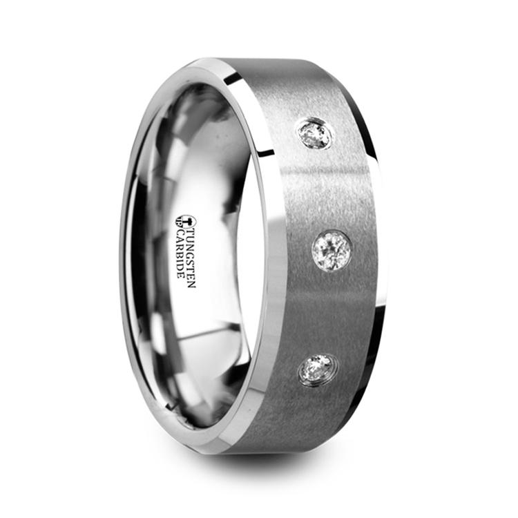 Satin Beveled Diamond Men's Wedding Ring in Tungsten   02