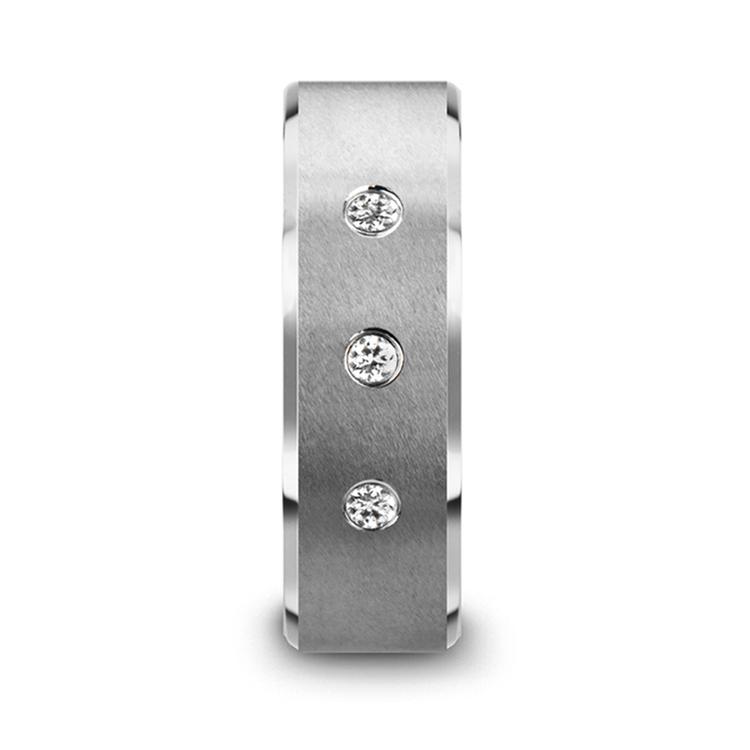 Satin Beveled Diamond Men's Wedding Ring in Tungsten | 03