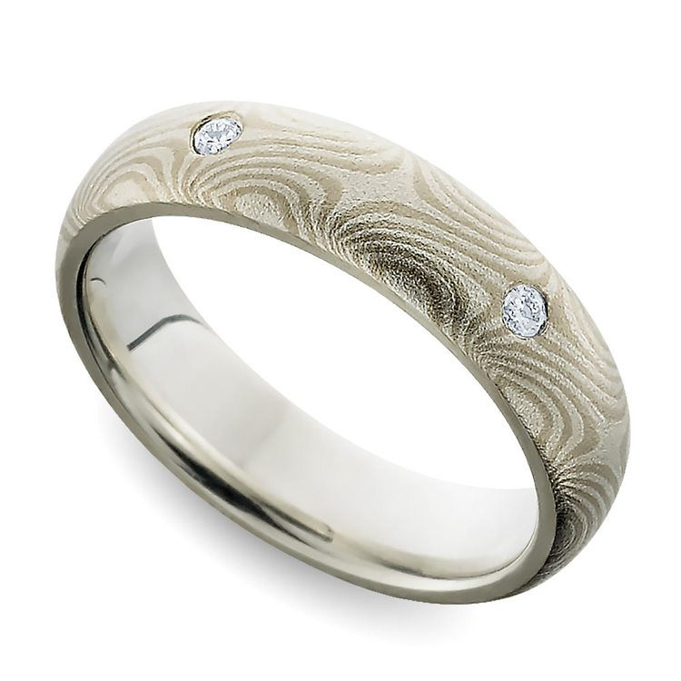 Mokume Gane Inset Diamond Wedding Ring | 01