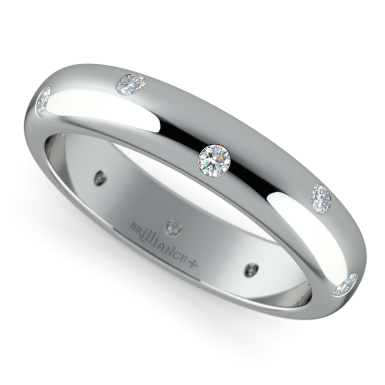 Inset Diamond Wedding Ring in Palladium (4mm) | 01