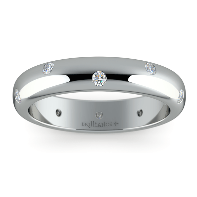 Inset Diamond Wedding Ring in Palladium (4mm) | 02