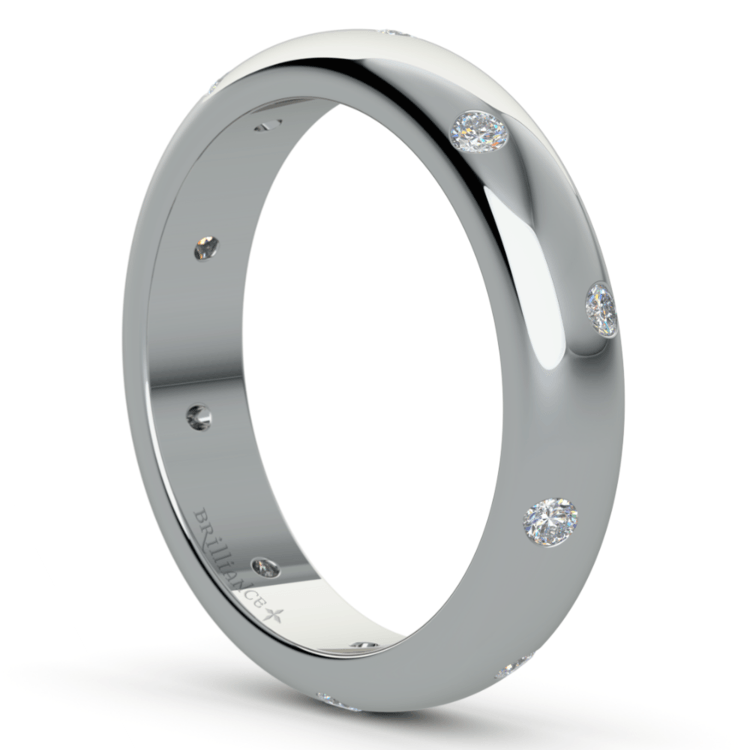 Inset Diamond Wedding Ring in Palladium (4mm) | 05