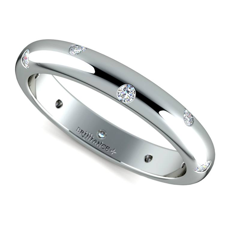 Inset Diamond Wedding Ring in Palladium (3mm) | 01