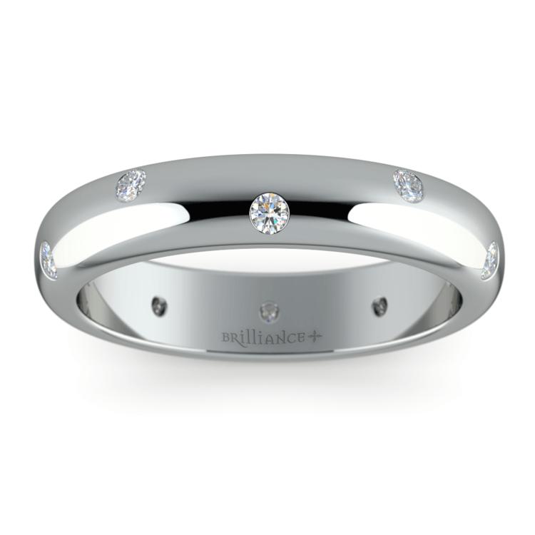 Inset Diamond Wedding Ring in Platinum (4mm) | 02