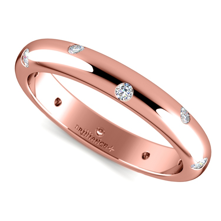 Inset Diamond Wedding Ring in Rose Gold (3mm) | 01