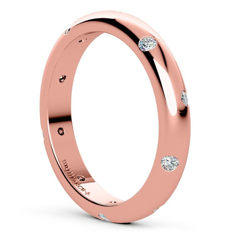 Inset Diamond Wedding Ring in Rose Gold (3mm) | 04