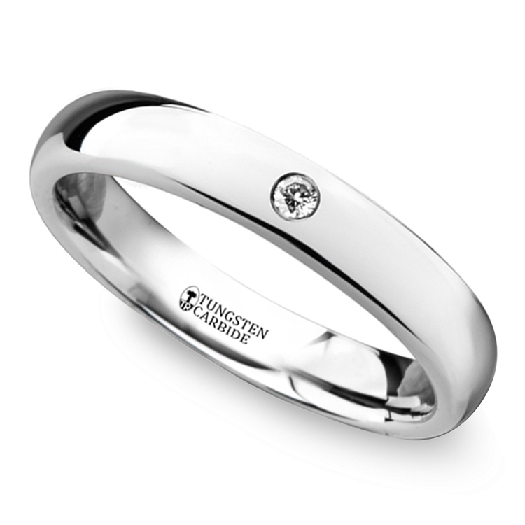 Polished Inset Diamond Wedding Ring in Tungsten | 01