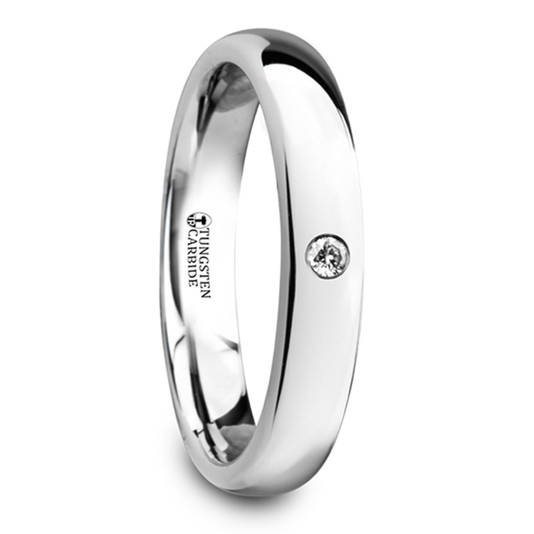 Polished Inset Diamond Wedding Ring in Tungsten | 02
