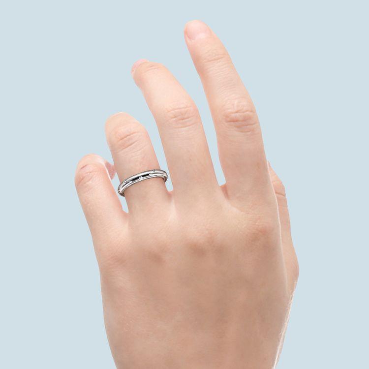 Inset Diamond Wedding Ring in White Gold (4mm) | 06