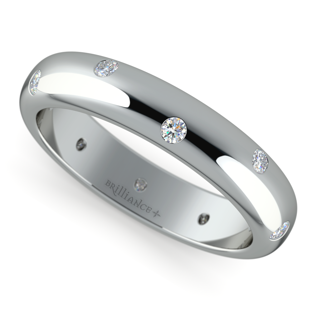 Inset Diamond Wedding Ring In White Gold 4mm