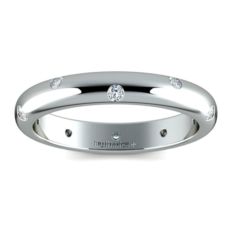 Inset Diamond Wedding Ring in White Gold (3mm) | 02