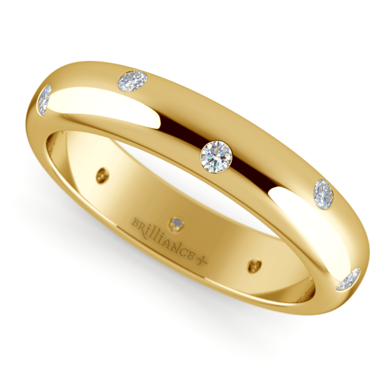 Inset Diamond Wedding Ring in Yellow Gold (4mm) | 01