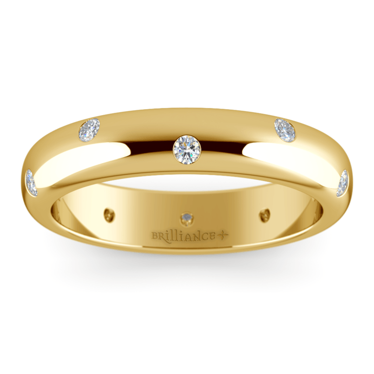 Inset Diamond Wedding Ring in Yellow Gold (4mm) | 02