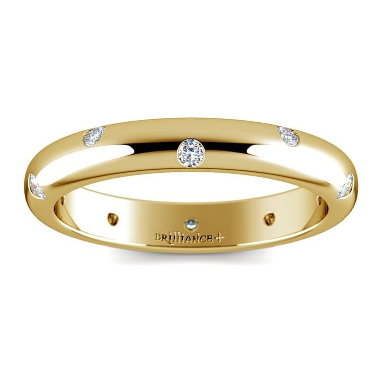 Inset Diamond Wedding Ring In Yellow Gold 3mm 02
