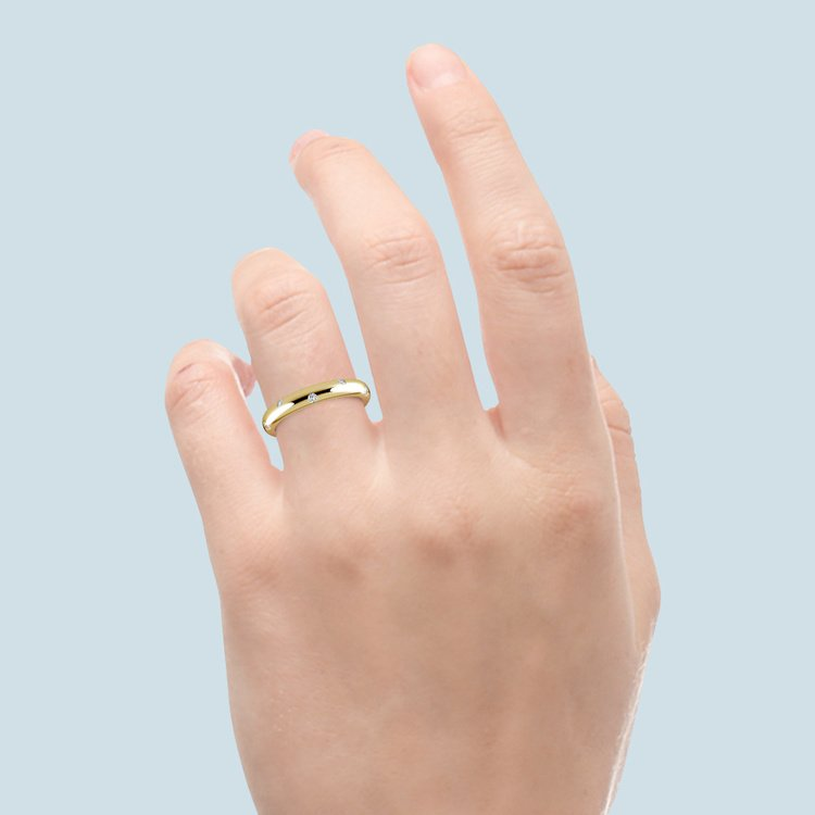 Inset Diamond Wedding Ring in Yellow Gold (3mm) | 06