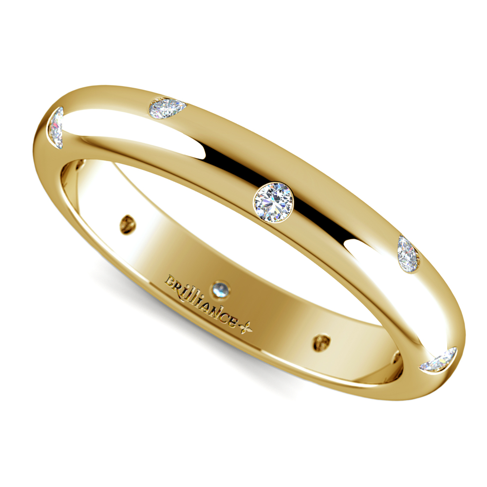 Inset diamond wedding ring in yellow gold 3mm for Wedding rings and bands