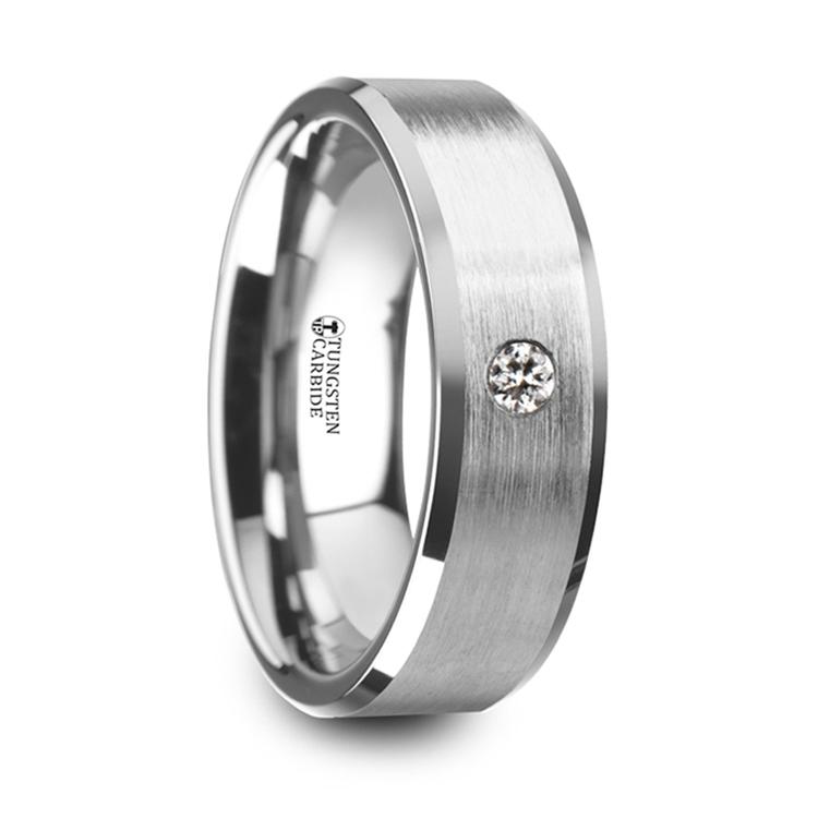 Inset Men's Diamond Wedding Ring in Tungsten | 02