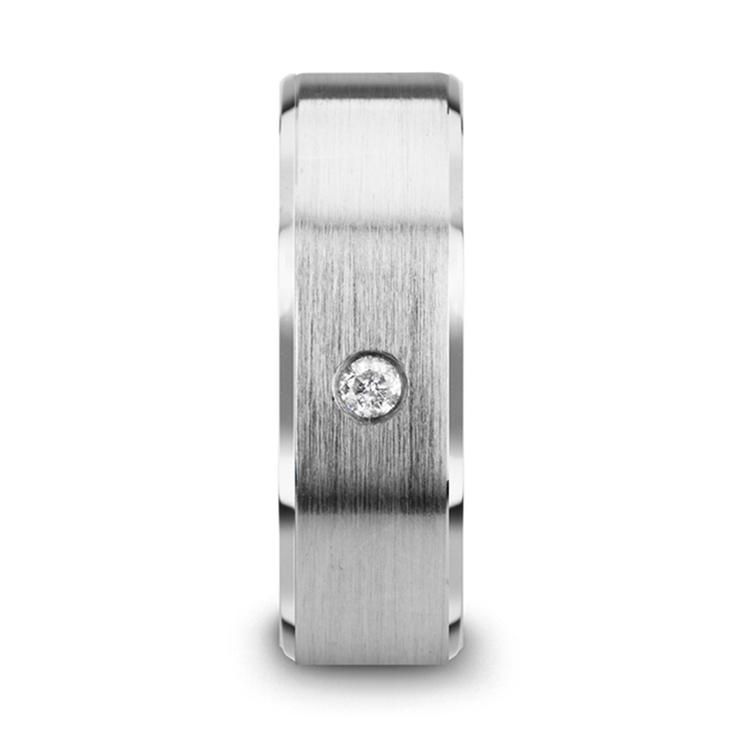 Inset Men's Diamond Wedding Ring in Tungsten | 03