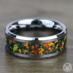 Irradiated - Blue & Orange Opal Inlay Men's Wedding Ring in Tungsten | Thumbnail 04