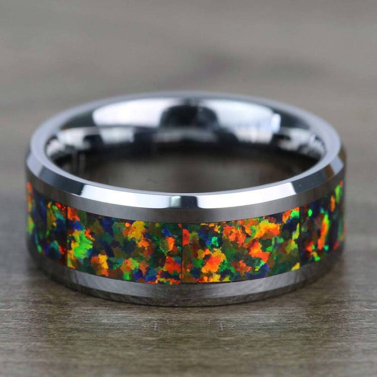 Irradiated - Blue & Orange Opal Inlay Men's Wedding Ring in Tungsten | 04