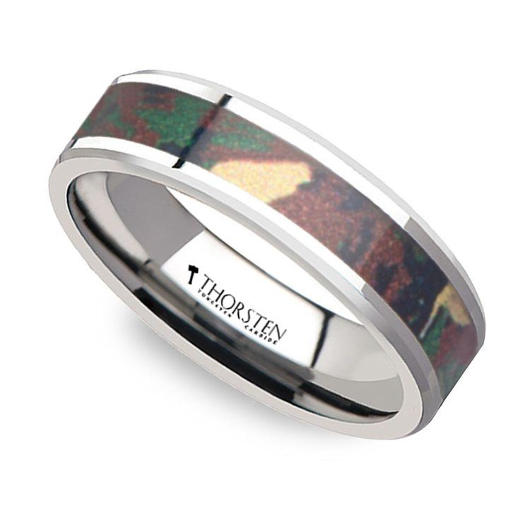 Jungle Camouflage Inlay Men's Wedding Ring in Tungsten | 01