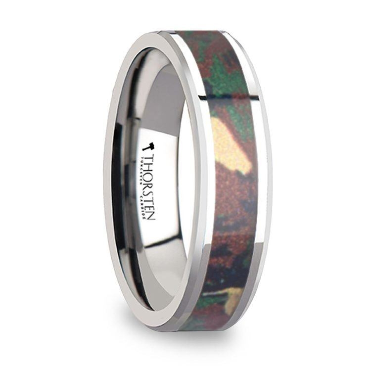 Jungle Camouflage Inlay Men's Wedding Ring in Tungsten | 02