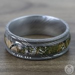 King's Mountain Inlay Men's Wedding Band with Rounded Edges in Damascus Steel | Thumbnail 03