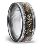 King's Mountain Inlay Men's Wedding Band with Rounded Edges in Damascus Steel | Thumbnail 02