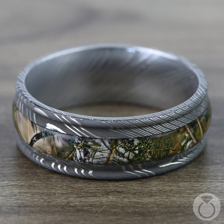 King's Mountain Inlay Men's Wedding Band with Rounded Edges in Damascus Steel | 03
