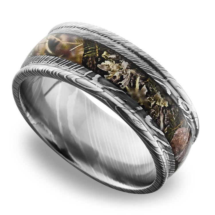 King's Mountain Inlay Men's Wedding Band with Rounded Edges in Damascus Steel | 01