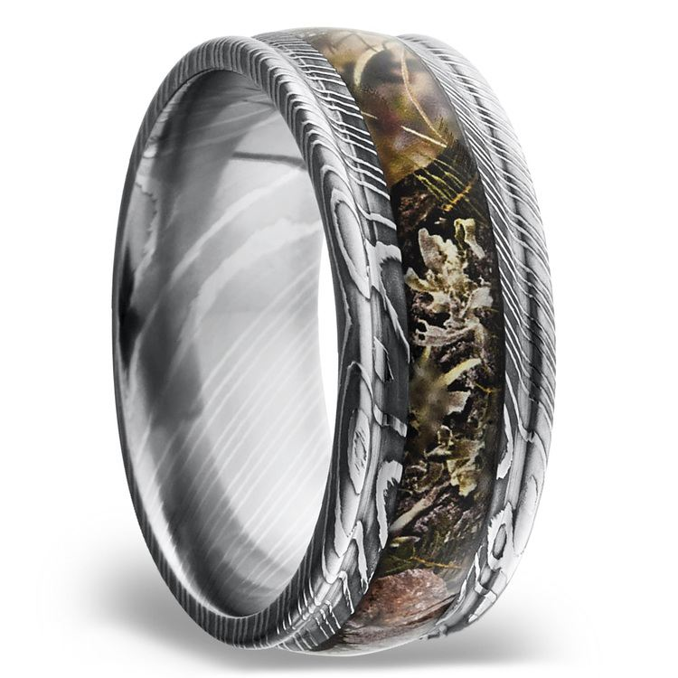King's Mountain Inlay Men's Wedding Band with Rounded Edges in Damascus Steel | 02