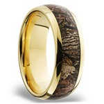 King's Woodland Inlay Men's Wedding Ring in 14K Yellow Gold | Thumbnail 02