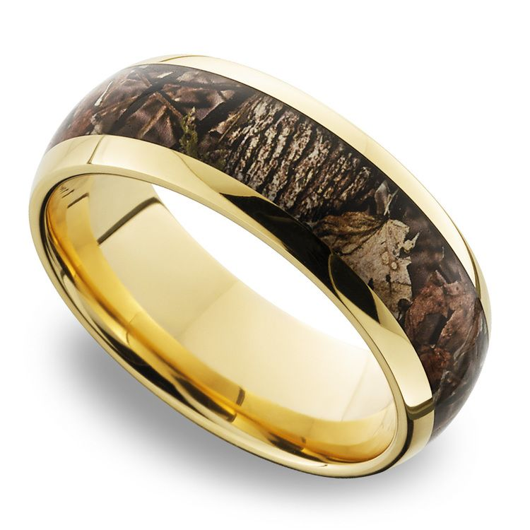 King's Woodland Inlay Men's Wedding Ring in 14K Yellow Gold | 01