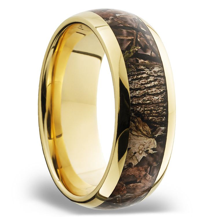 King's Woodland Inlay Men's Wedding Ring in 14K Yellow Gold | 02