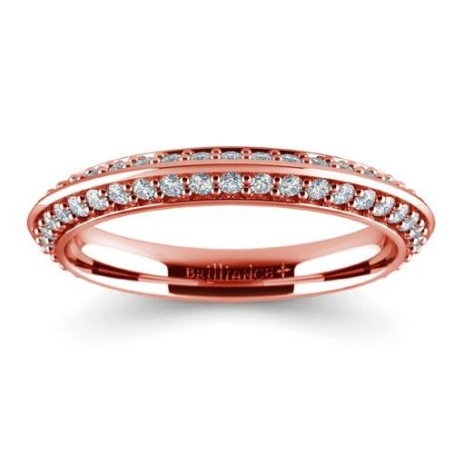knife edge diamond wedding ring in rose gold 12 ctw - Rose Gold Diamond Wedding Ring