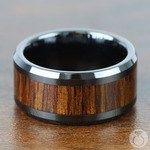 Koa Wood Inlay Men's Beveled Ring in Black Ceramic (10mm) | Thumbnail 04