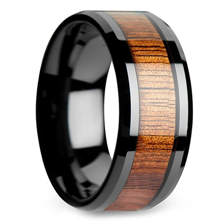 Koa Wood Inlay Men's Beveled Ring in Black Ceramic (10mm) | 02
