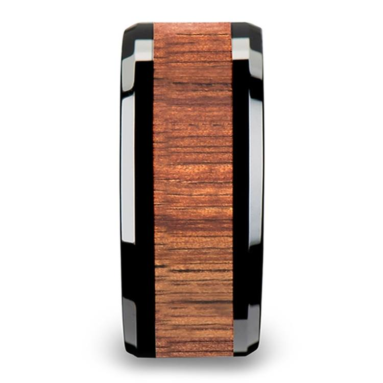 Koa Wood Inlay Men's Beveled Ring in Black Ceramic (10mm) | 03